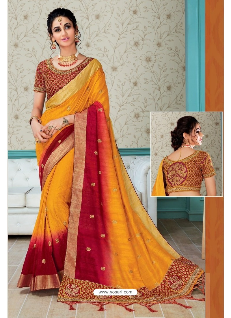 e22f6dafb2f439 Yellow And Red Raw Silk Embroidered Designer Saree With Readymade Blouse