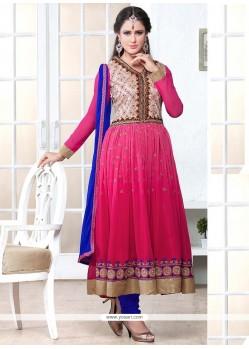 Splendid Pink Georgette Anarkali Salwar Suit