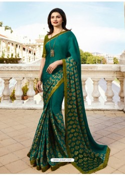Teal Georgette Printed Saree