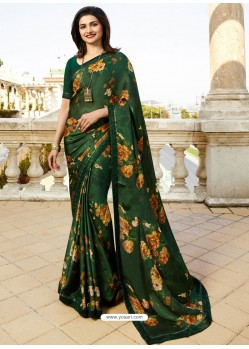 Dark Green Georgette Printed Saree