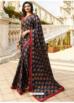 Navy And Multi Colour Georgette Printed Saree