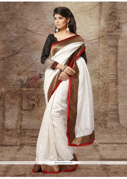 Off White Silk Stone Designer Saree