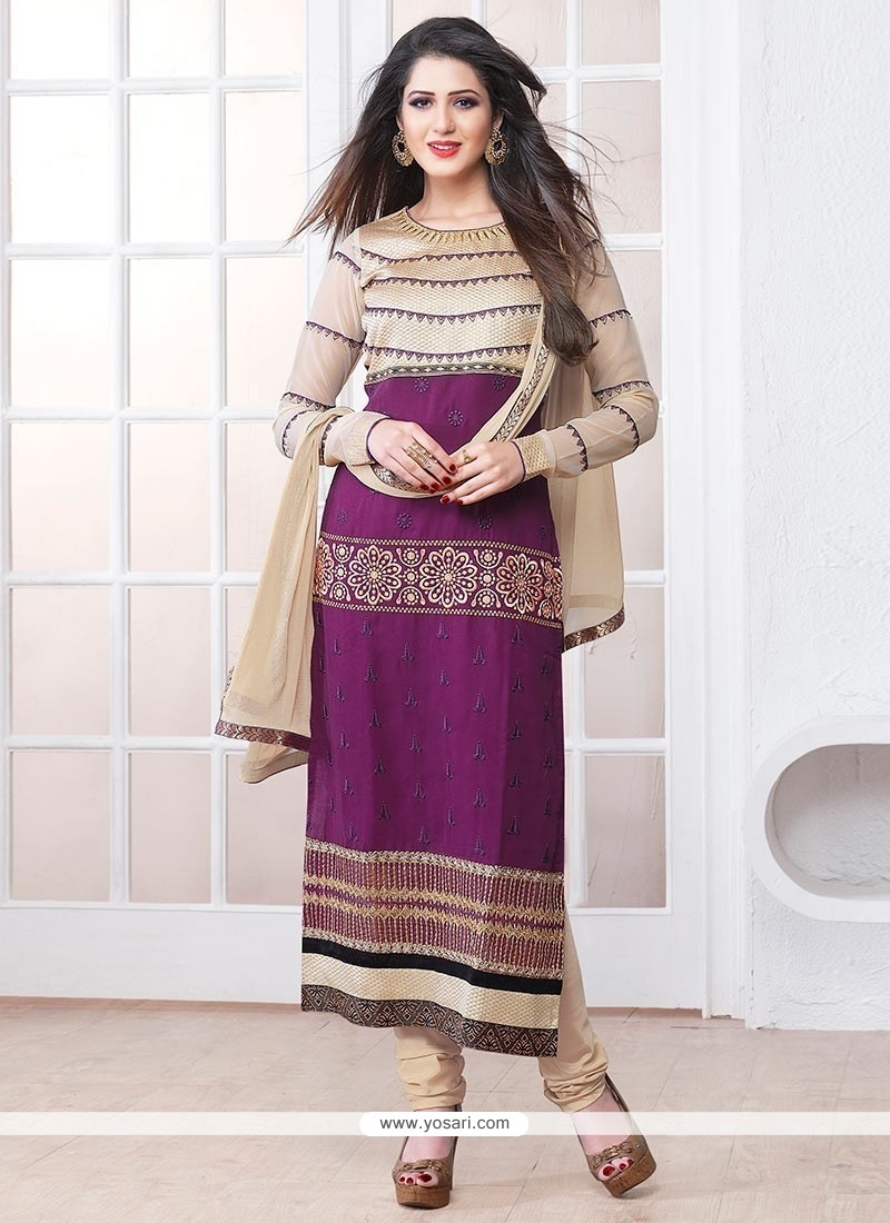 Modish Purple Georgette Churidar Salwar Suit