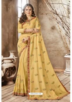 Yellow Georgette Embroidered Designer Saree
