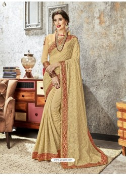 Beige Chiffon Embroidered Designer Saree