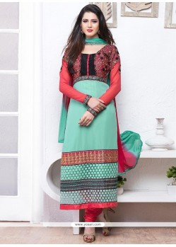 Light Green Georgette Churidar Suit