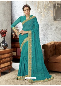 Teal Chiffon Embroidered Designer Saree