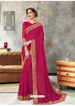 Rose Red Chiffon Embroidered Designer Saree
