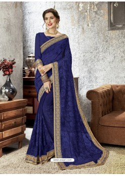 Navy Blue Chiffon Embroidered Designer Saree