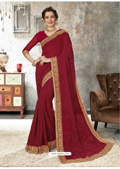 Maroon Chiffon Embroidered Designer Saree