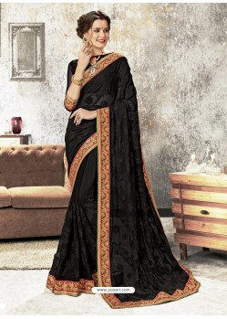 Black Chiffon Embroidered Designer Saree
