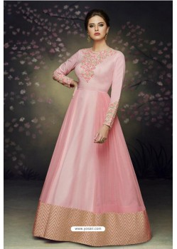 Pink Satin Silk Designer Gown Suit