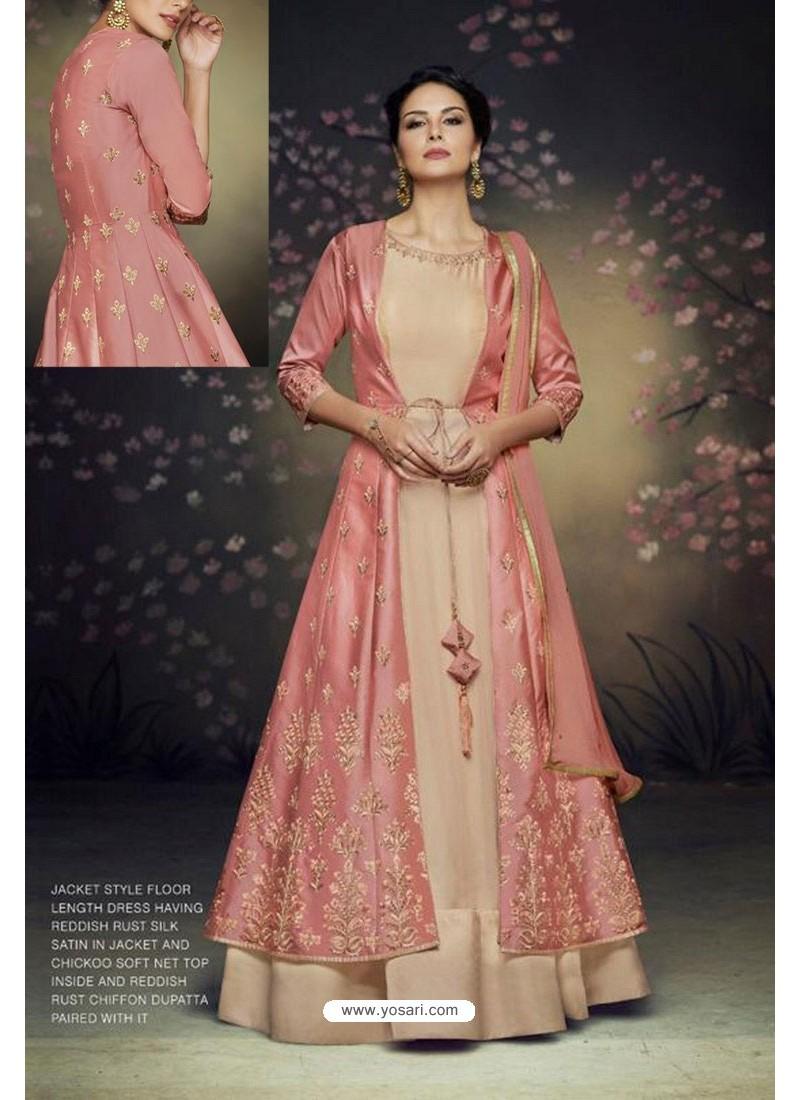 005849b4f2 Buy Peach And Beige Soft Net Designer Gown Suit | Anarkali Suits
