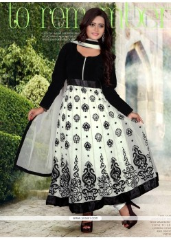 White And Black Velvet And Net Anarkali Suit