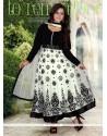 White And Black Velvet And Net Anarkali Suit