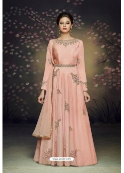 Stunning Peach Satin Silk Designer Gown Suit