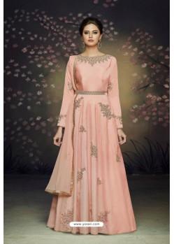 Stunning Peach Satin Silk Designer Gown Suit