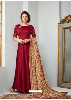 Maroon Satin Georgette Embroidered Designer Anarkali Suit