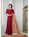 Maroon Satin Georgette Embroidered Designer Anarkali Suit