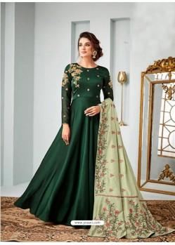 Dark Green Satin Georgette Embroidered Designer Anarkali Suit