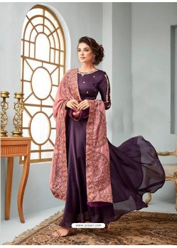 Purple Satin Georgette Embroidered Designer Anarkali Suit