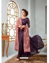 Purple Satin Georgette Embroidered Designer Anarkali Suit