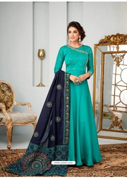 Aqua Mint Satin Georgette Embroidered Designer Anarkali Suit