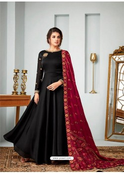 Black Satin Georgette Embroidered Designer Anarkali Suit