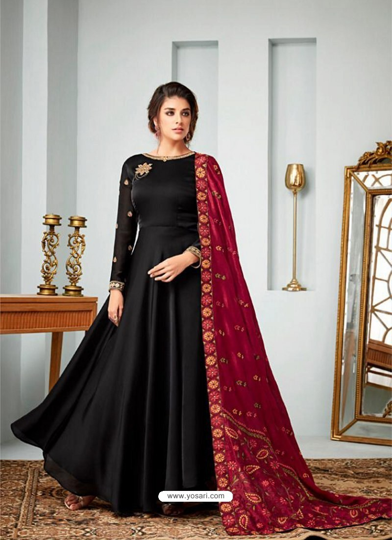 dbc29e5a0f Buy Black Satin Georgette Embroidered Designer Anarkali Suit ...