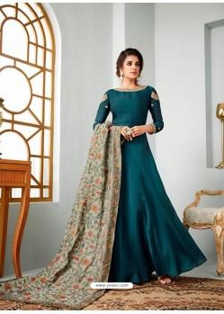 Tealblue Satin Georgette Embroidered Designer Anarkali Suit