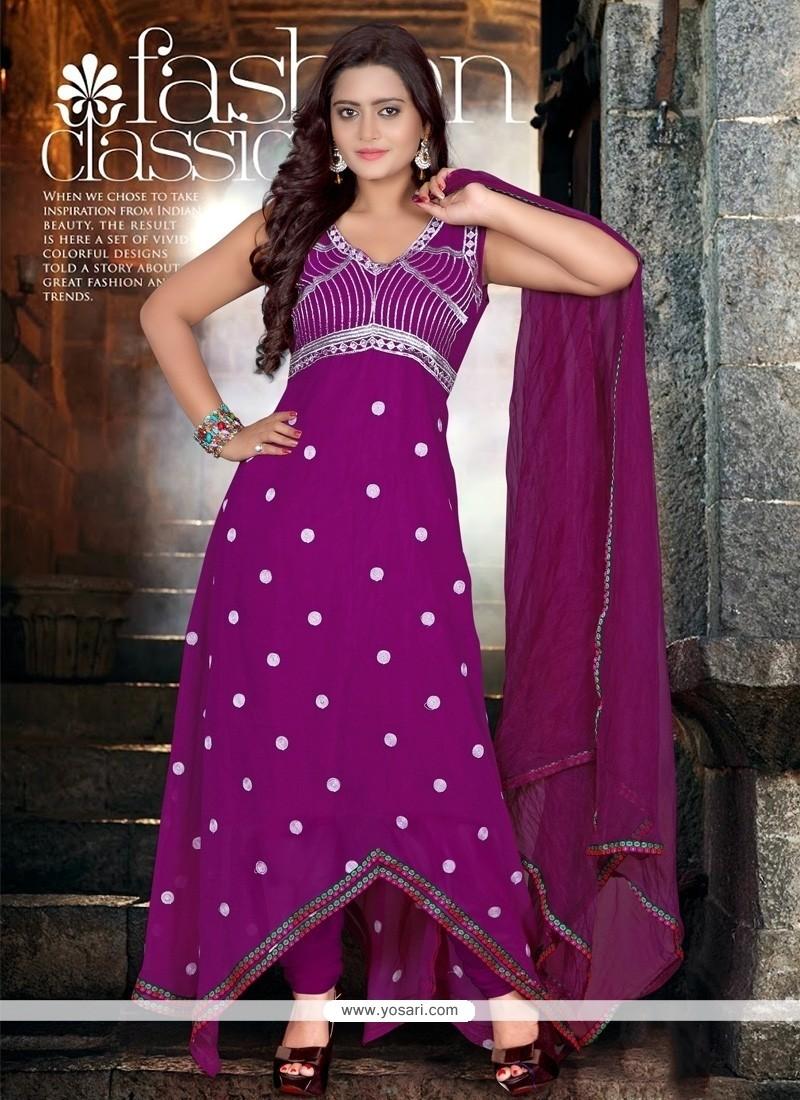 Classy Purple Georgette Anarkali Salwar Suit