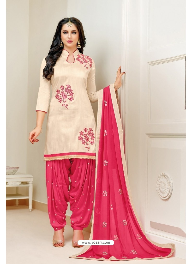3891cb78793 Buy Cream And Pink Lawn Slub Cotton Salwar Suit