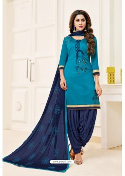 Turquoise And Navy Lawn Slub Cotton Salwar Suit