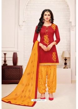 Red And Yellow Lawn Slub Cotton Salwar Suit