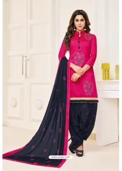 Rani And Black Lawn Slub Cotton Salwar Suit