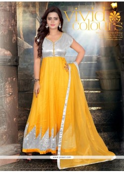Pleasing Yellow Net Designer Anarkali Suit