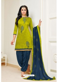 Parrot Green And Tealblue Lawn Slub Cotton Salwar Suit