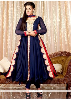 Navy Blue Georgette Anarkali Salwar Suit