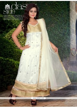 Off White Net Stone Work Anarkali Suit