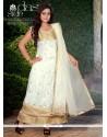 Off White Net Stone Work Anarkali Suit