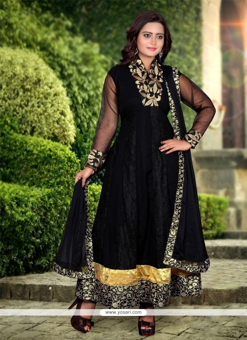 Enthralling Black Net And Georgette Anarkali Suit