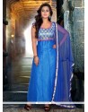 Embellished Blue Net Designer Anarkali Suit