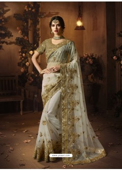 Off White Soft Net Heavy Embroidered Wedding Saree