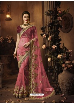 Hot Pink Soft Net Heavy Embroidered Wedding Saree