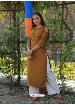 Exclusive Mustard Rayon Cotton Kurti