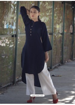 Navy Blue Rayon Cotton Kurti