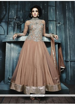 Light Brown Net Designer Anarkali Suit
