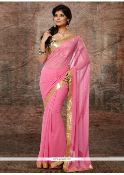 Preety Pink Faux Chiffon Designer Saree
