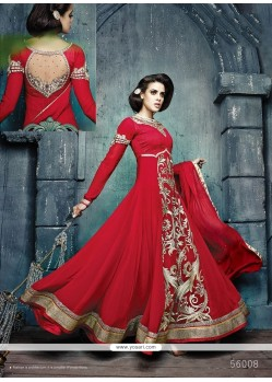 Stupendous Red Georgette Anarkali Suit