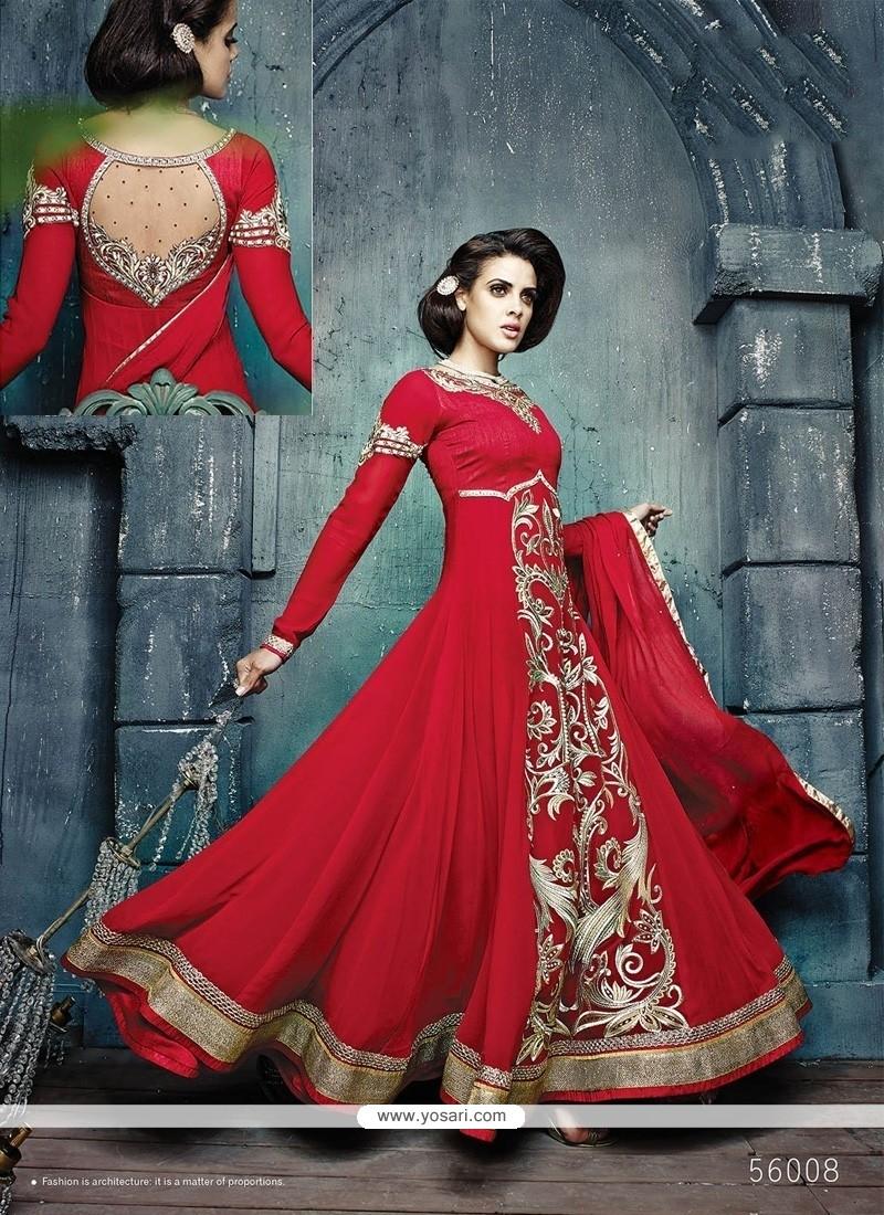 Stupendous Red Georgette Anarkali Suit